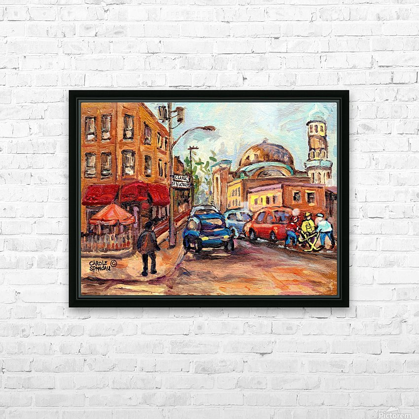 RUE ST VIATEUR NEAR CLARK MONTREAL PAINTING WINTER SCENE WITH HOCKEY HD Sublimation Metal print with Decorating Float Frame (BOX)