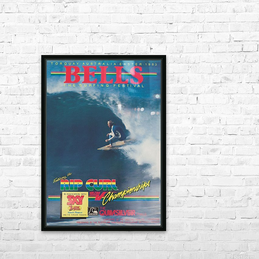1983 RIP CURL BELLS BEACH EASTER Surfing Championship Competition Print - Surfing Poster HD Sublimation Metal print with Decorating Float Frame (BOX)
