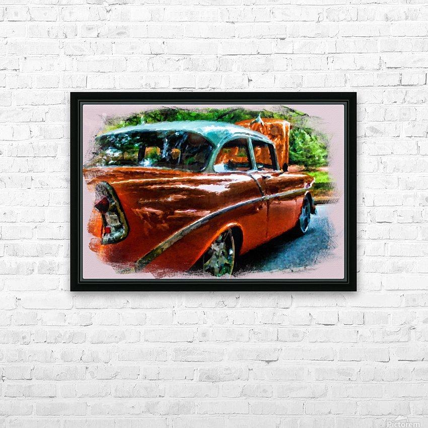 Classic Orange Car in Park Painting HD sublimation métal imprimé avec décoration flotteur cadre (boîte)