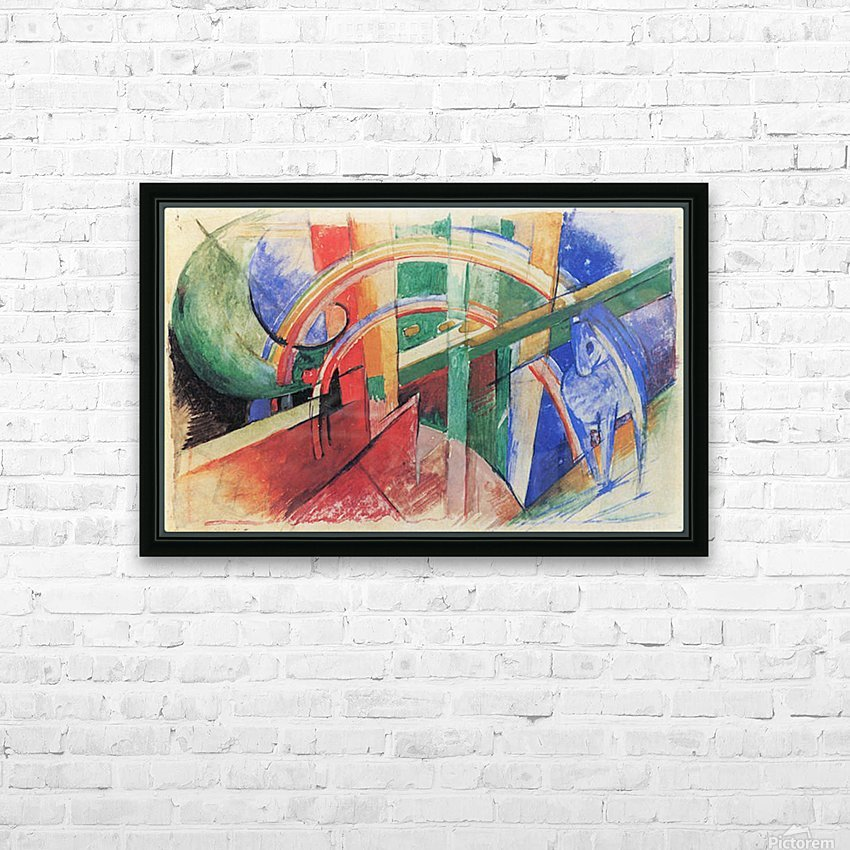 Blue horse with rainbow by Franz Marc HD Sublimation Metal print with Decorating Float Frame (BOX)