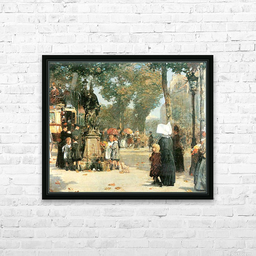 Parisian street scene -1- by Hassam HD Sublimation Metal print with Decorating Float Frame (BOX)
