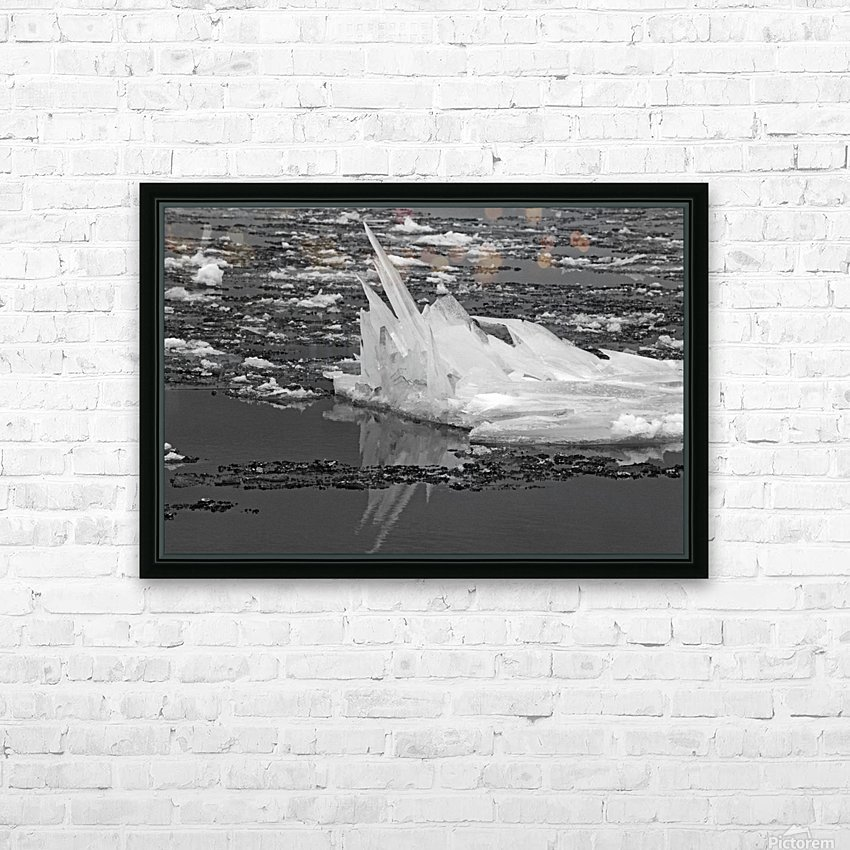 Jagged Ice on the River BW 021619 HD Sublimation Metal print with Decorating Float Frame (BOX)