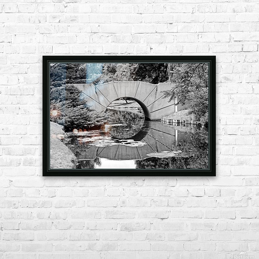 Reflecting Bridge Dow Gardens BW 062618 HD Sublimation Metal print with Decorating Float Frame (BOX)