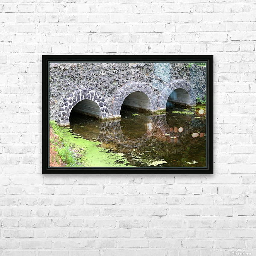 Stone Bridge and Reflection 4 Dow Gardens 3 062618 HD Sublimation Metal print with Decorating Float Frame (BOX)