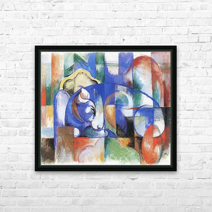 Bull by Franz Marc HD Sublimation Metal print with Decorating Float Frame (BOX)