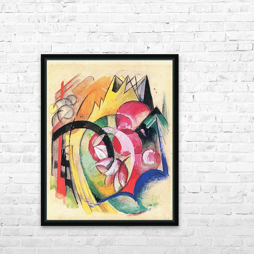 Colored flowers by Franz Marc HD Sublimation Metal print with Decorating Float Frame (BOX)