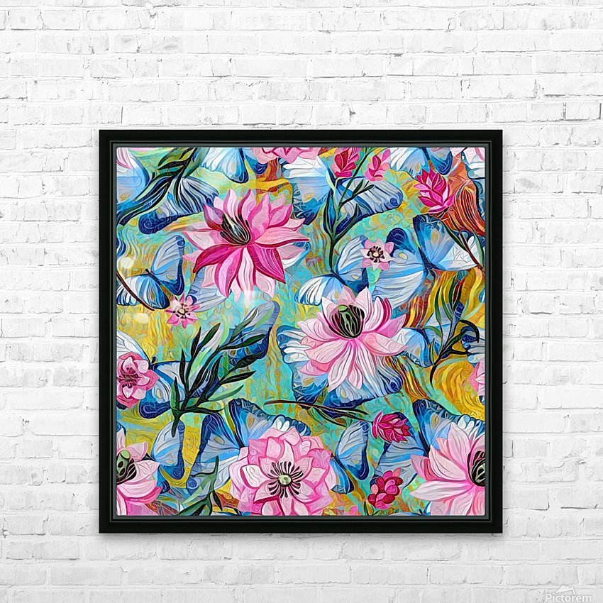 Colorful Floral Abstract  HD Sublimation Metal print with Decorating Float Frame (BOX)