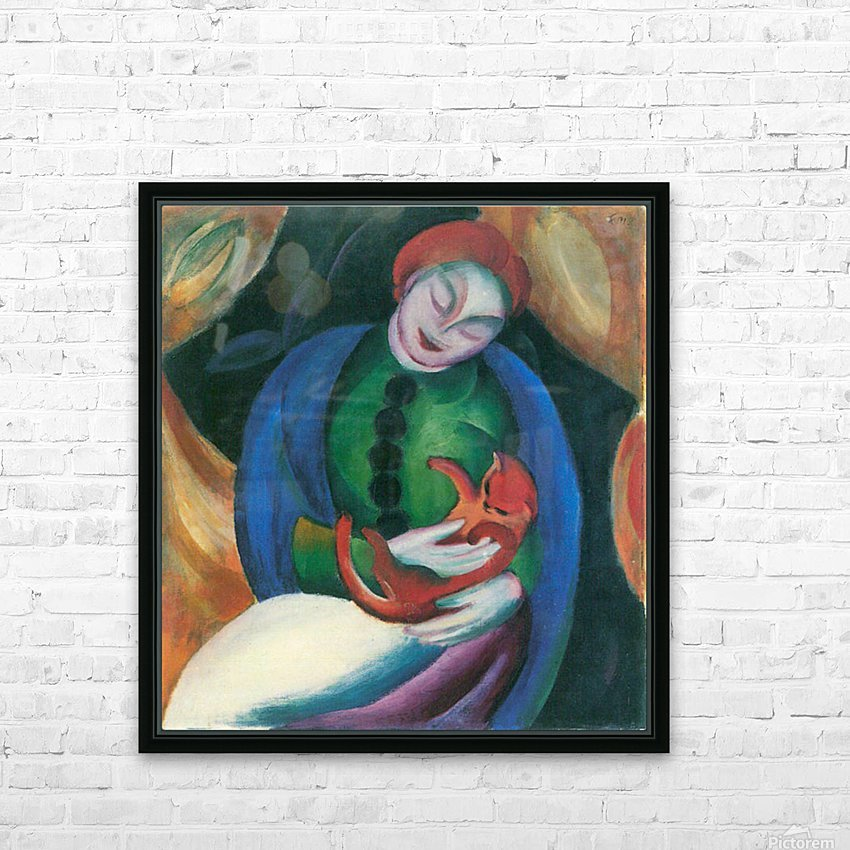 Girl with a Cat II by Franz Marc HD Sublimation Metal print with Decorating Float Frame (BOX)
