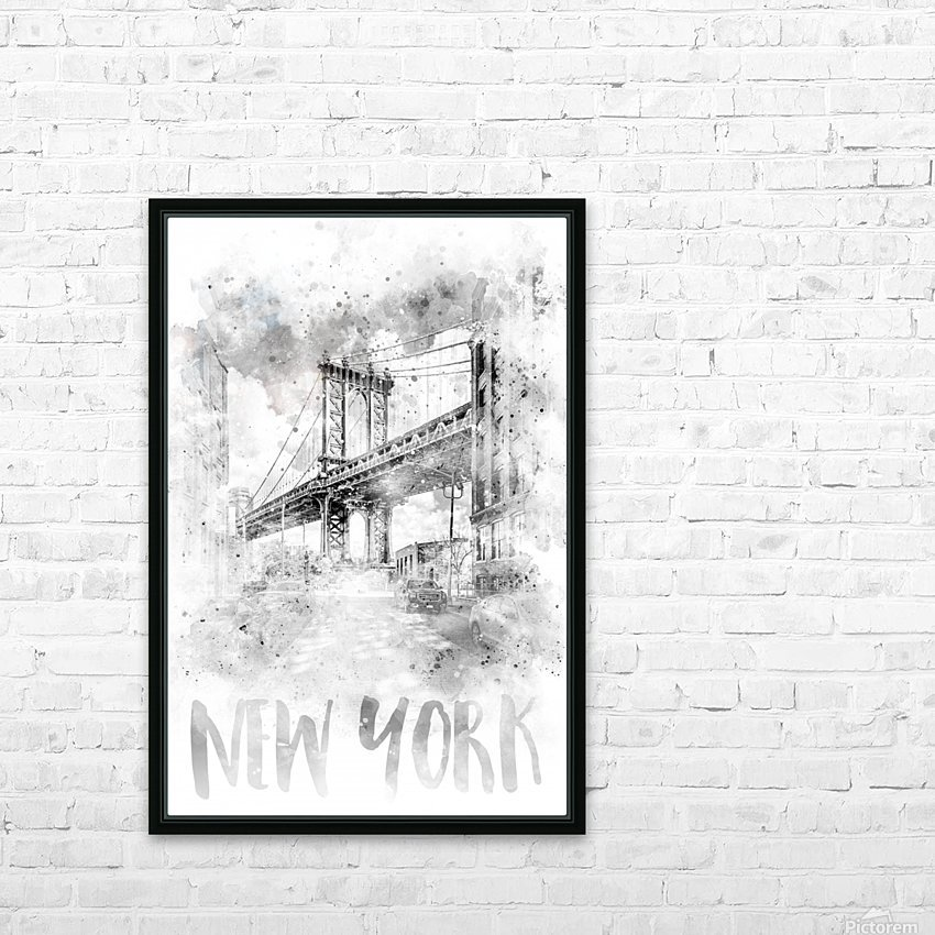 Monochrome Art NYC Manhattan Bridge | watercolor HD Sublimation Metal print with Decorating Float Frame (BOX)
