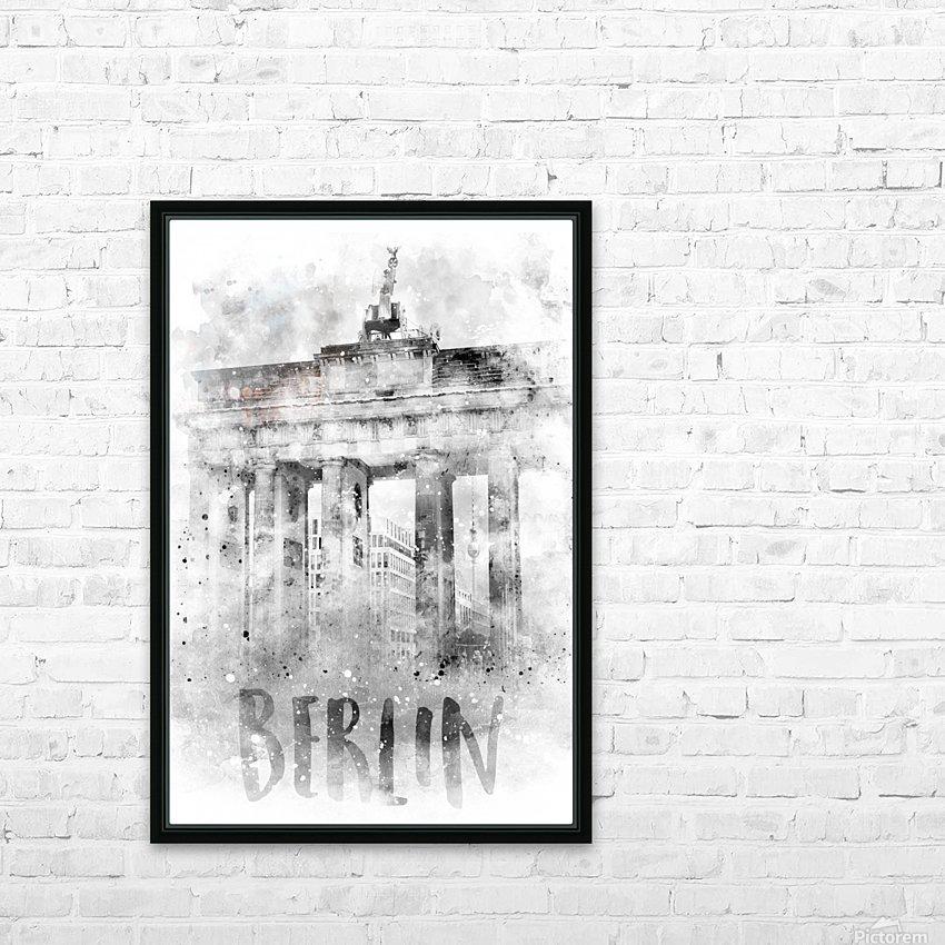 Monochrome Art BERLIN Brandenburg Gate | Watercolor HD Sublimation Metal print with Decorating Float Frame (BOX)