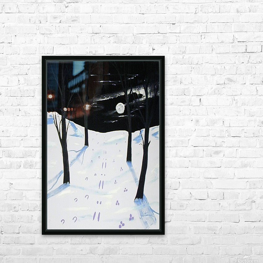 Nightime Snow Tracks HD Sublimation Metal print with Decorating Float Frame (BOX)