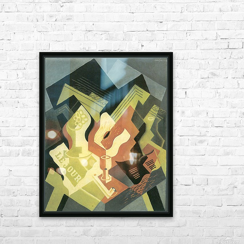 Guitar and Fruit Bowl -2- by Juan Gris HD Sublimation Metal print with Decorating Float Frame (BOX)