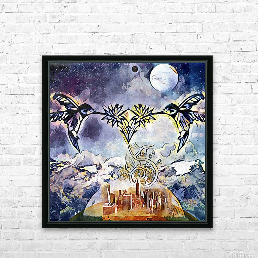 Two hummingbirds in the sky eating nectar nearby a domed city HD Sublimation Metal print with Decorating Float Frame (BOX)