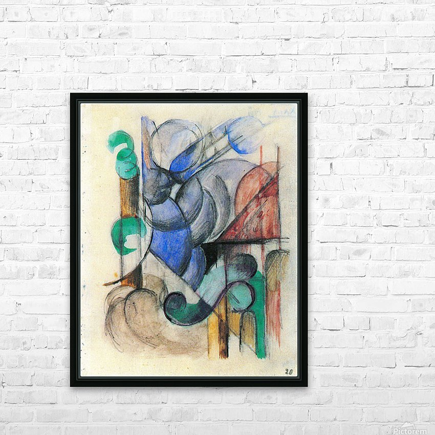 House in abstract landscape by Franz Marc HD Sublimation Metal print with Decorating Float Frame (BOX)
