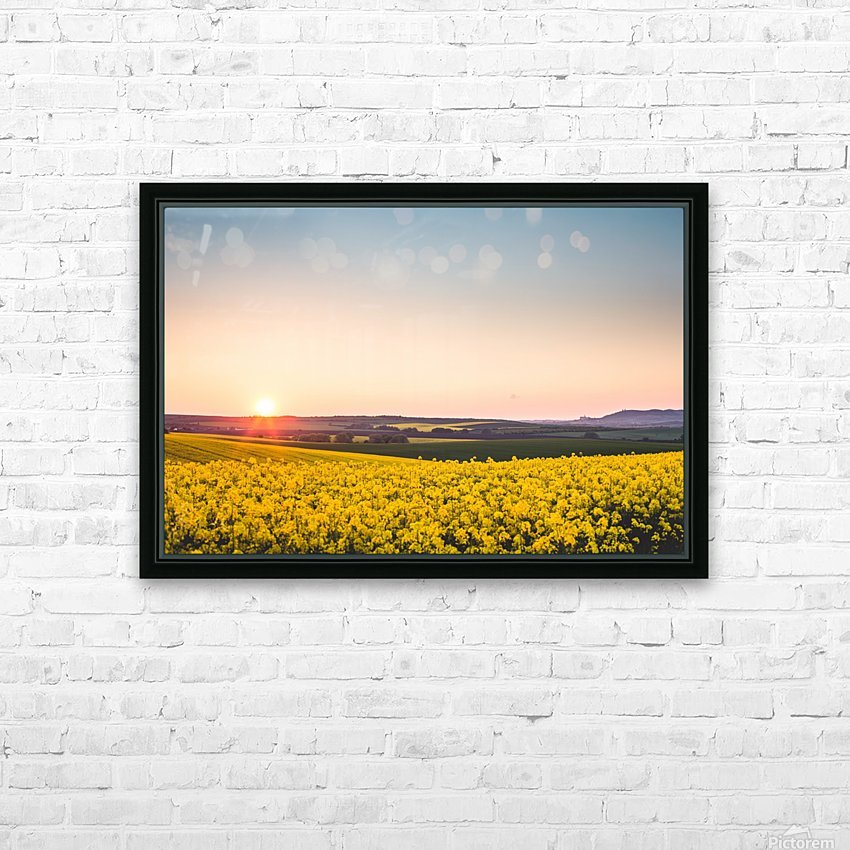 Beautiful sunset over the yellow rapeseed field. HD Sublimation Metal print with Decorating Float Frame (BOX)