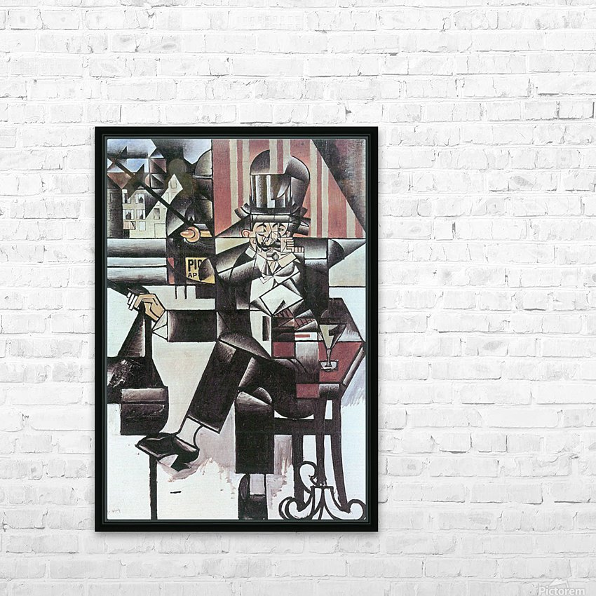 Man in Cafe -1- by Juan Gris HD Sublimation Metal print with Decorating Float Frame (BOX)