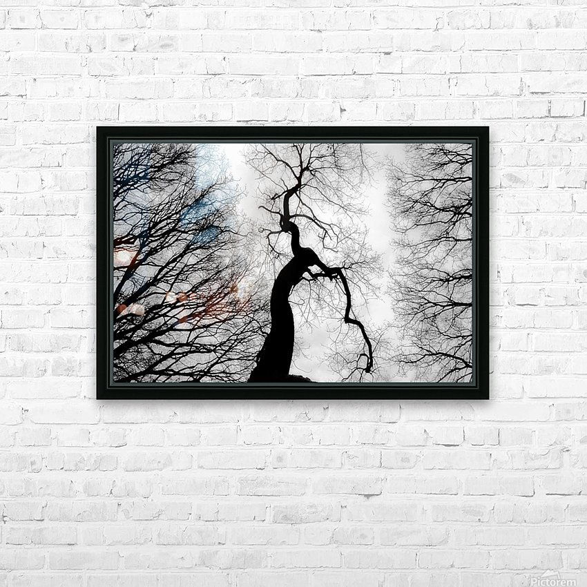 Black and White Abstract Tree 02 HD Sublimation Metal print with Decorating Float Frame (BOX)
