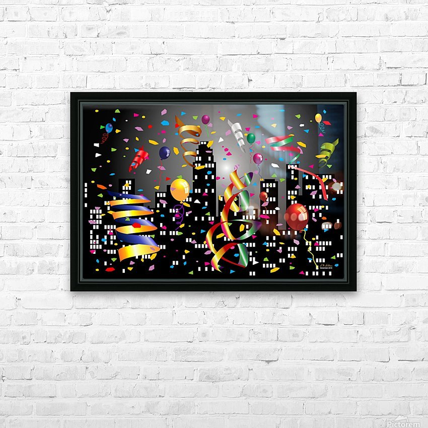 1-Nighttime Celebration in the Big City HD Sublimation Metal print with Decorating Float Frame (BOX)