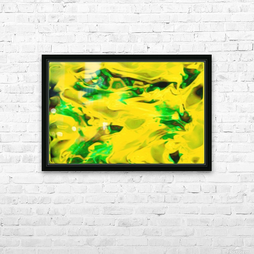 Golden Synchronicities - gold green abstract swirl wall art HD Sublimation Metal print with Decorating Float Frame (BOX)