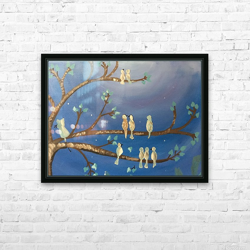 Birds on a limb HD Sublimation Metal print with Decorating Float Frame (BOX)