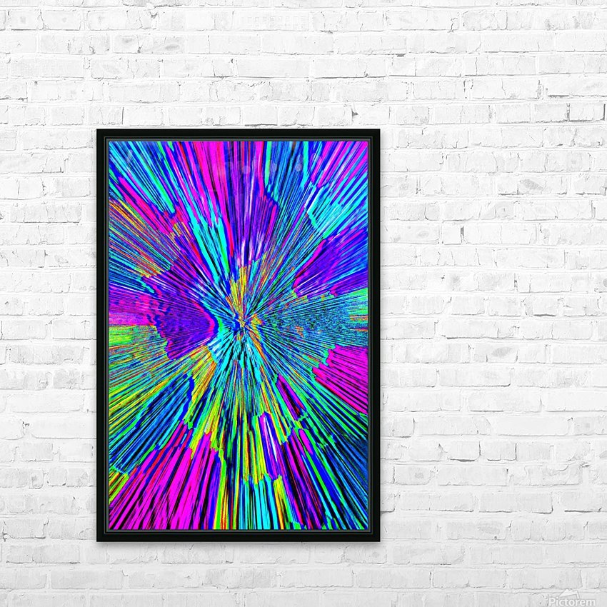 Shattered Glass - Radial Blue HD Sublimation Metal print with Decorating Float Frame (BOX)