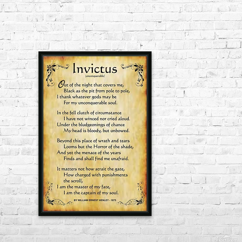 2-Invictus Poem HD Sublimation Metal print with Decorating Float Frame (BOX)