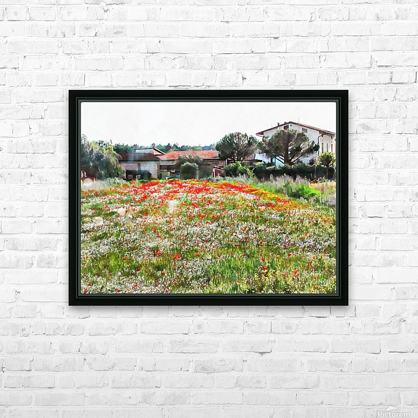 Old Farm House With Poppies HD Sublimation Metal print with Decorating Float Frame (BOX)