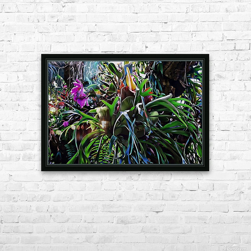 Stag Horn And Orchid Fantasy Garden HD Sublimation Metal print with Decorating Float Frame (BOX)