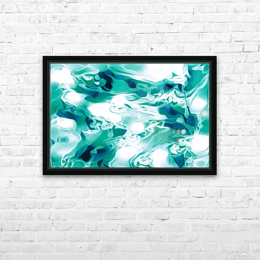 Mint Chocolate Chip Ice Cream - turquoise white blue black swirls large abstract wall art HD Sublimation Metal print with Decorating Float Frame (BOX)