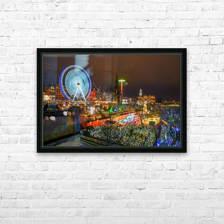 Princes Street Edinburgh at night HD Sublimation Metal print with Decorating Float Frame (BOX)