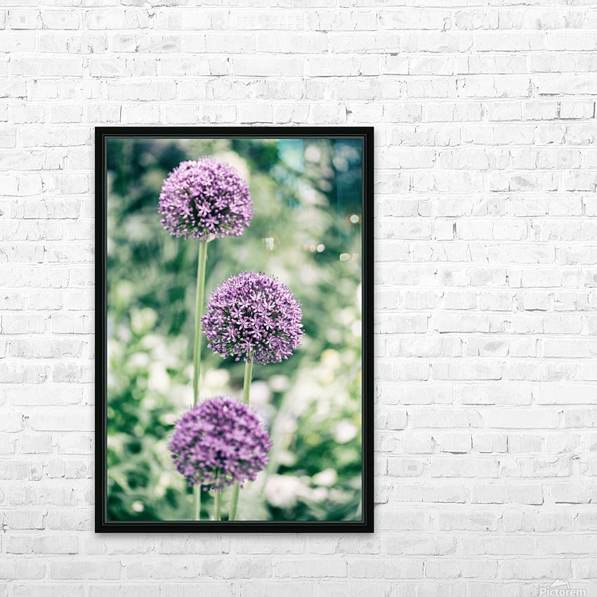 Three Purple Flowers HD Sublimation Metal print with Decorating Float Frame (BOX)