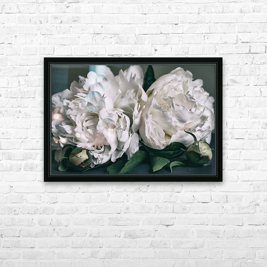Two Peonies HD Sublimation Metal print with Decorating Float Frame (BOX)