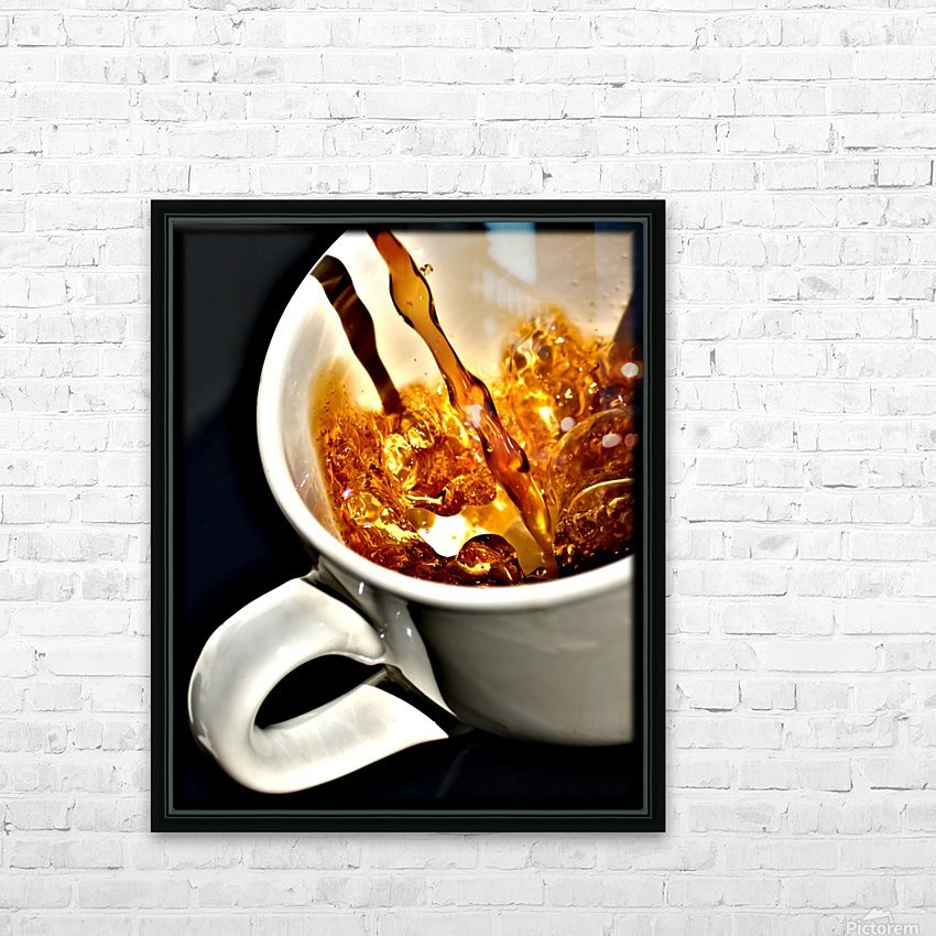Coffee Pour  HD Sublimation Metal print with Decorating Float Frame (BOX)