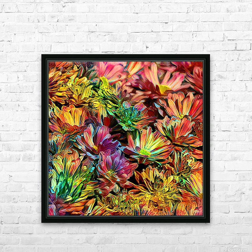 Rainbow Floral HD Sublimation Metal print with Decorating Float Frame (BOX)