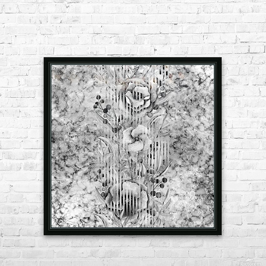 Shades of grey floral abstract  HD Sublimation Metal print with Decorating Float Frame (BOX)