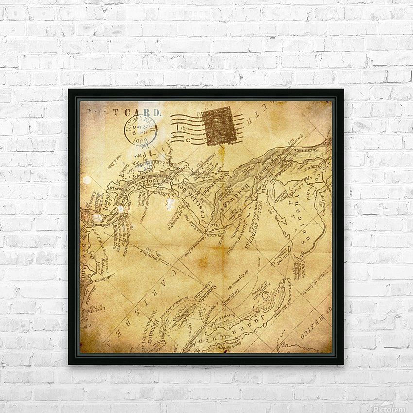 vintage map background paper HD Sublimation Metal print with Decorating Float Frame (BOX)