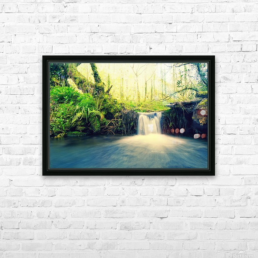 waterfall river nature forest  HD Sublimation Metal print with Decorating Float Frame (BOX)