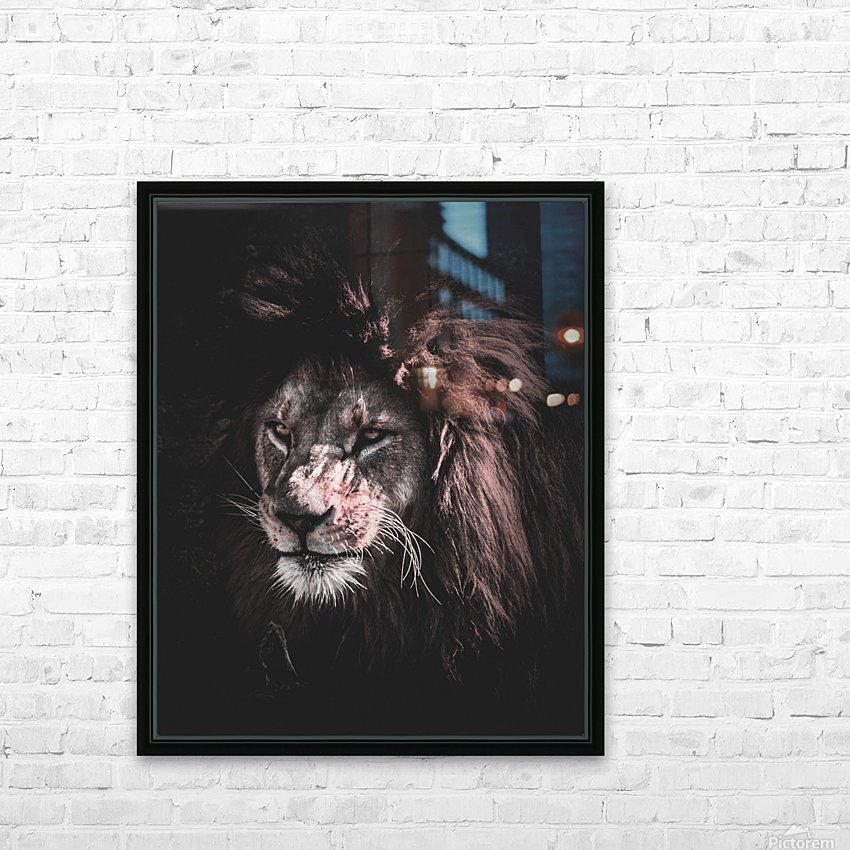 lion painting HD Sublimation Metal print with Decorating Float Frame (BOX)
