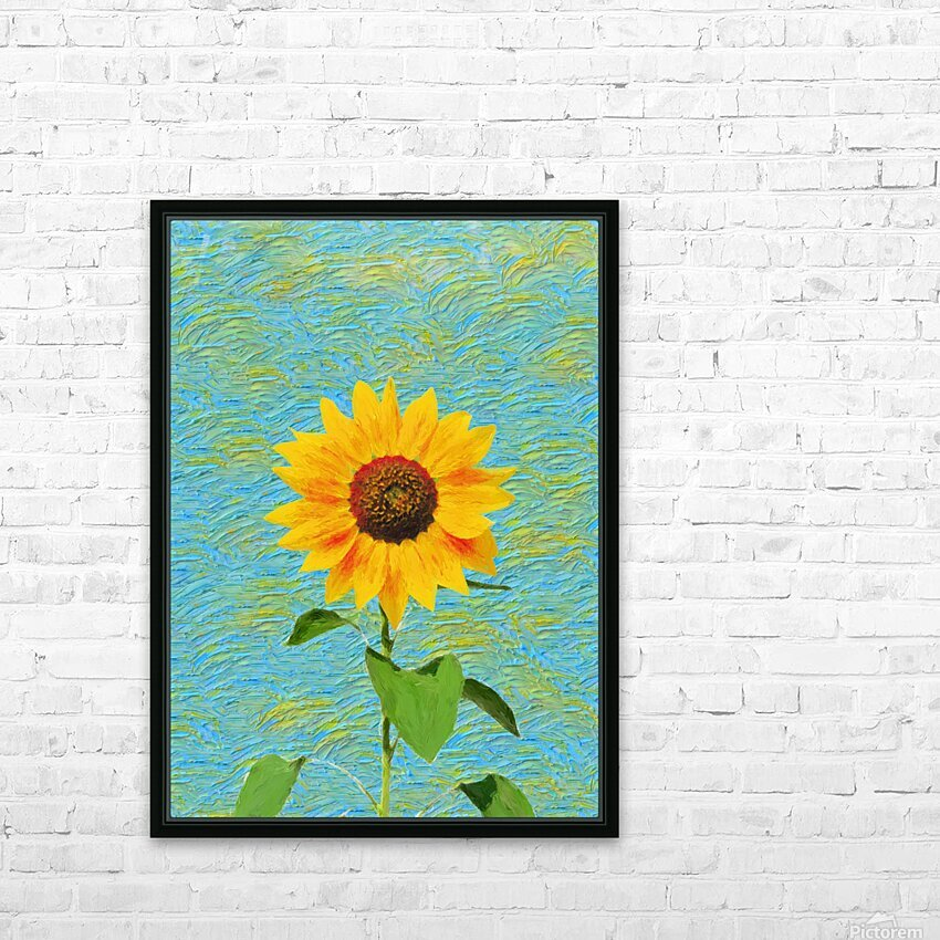 Sunflower. HD Sublimation Metal print with Decorating Float Frame (BOX)