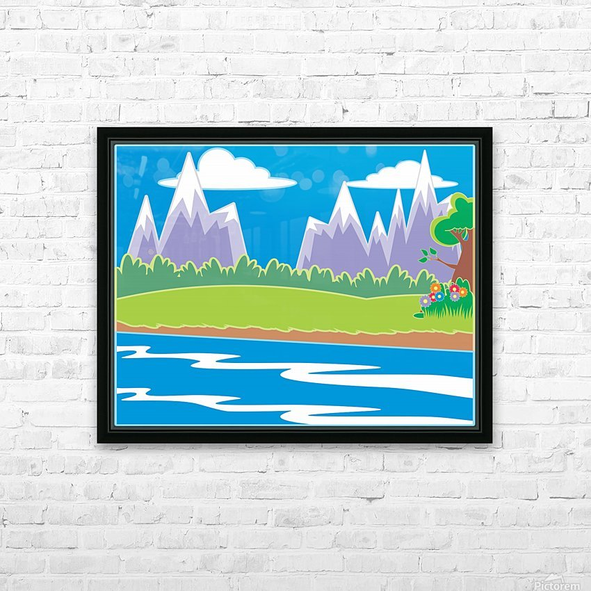 nature tree water grass sun HD Sublimation Metal print with Decorating Float Frame (BOX)