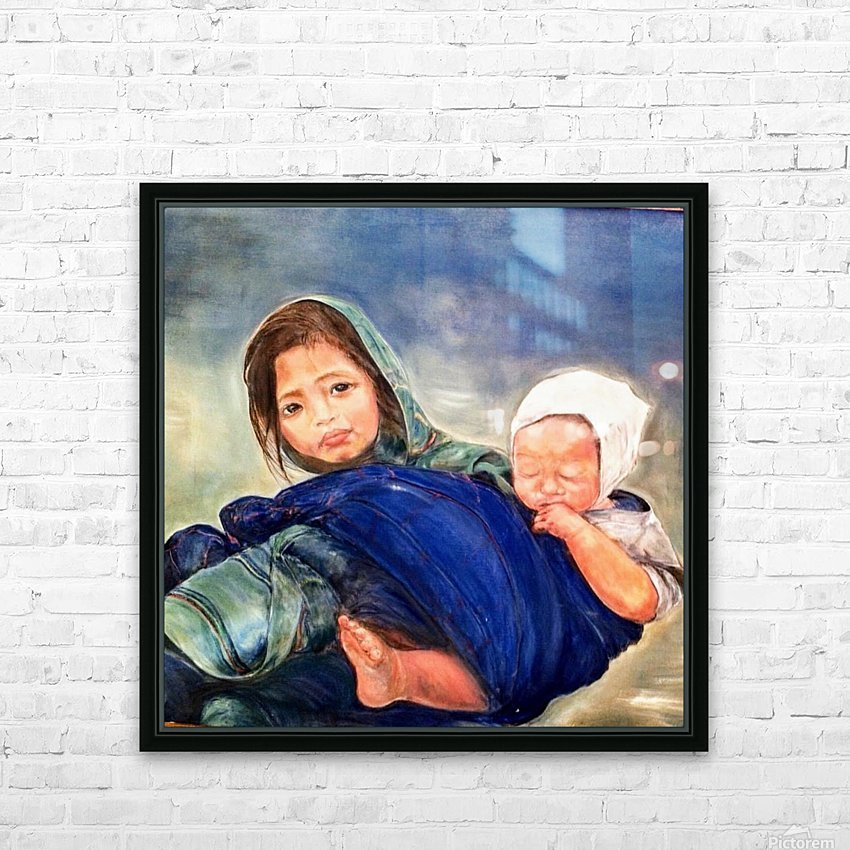 Child raising a Child HD Sublimation Metal print with Decorating Float Frame (BOX)