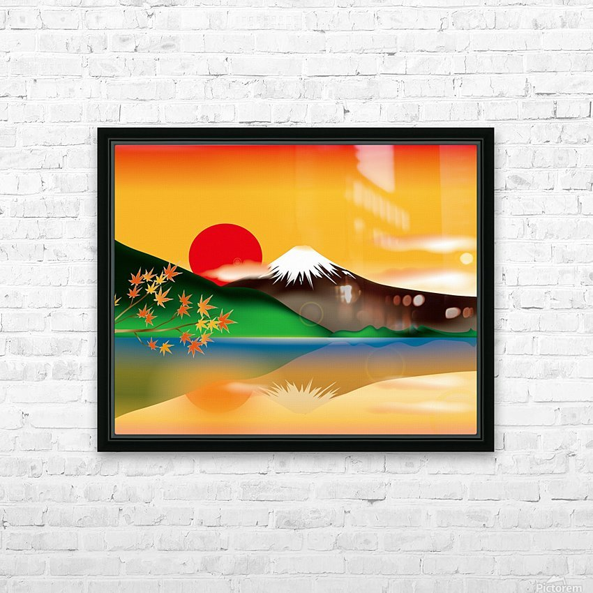 mount fuji japan lake sun sunset HD Sublimation Metal print with Decorating Float Frame (BOX)