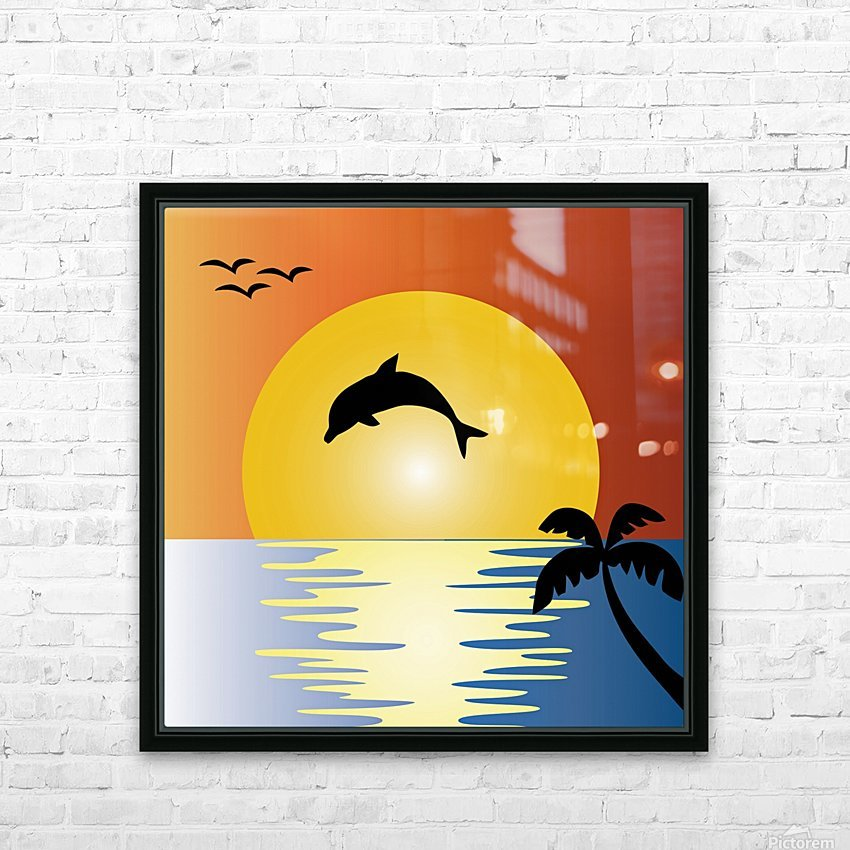 ocean sunset dolphin palm tree HD Sublimation Metal print with Decorating Float Frame (BOX)