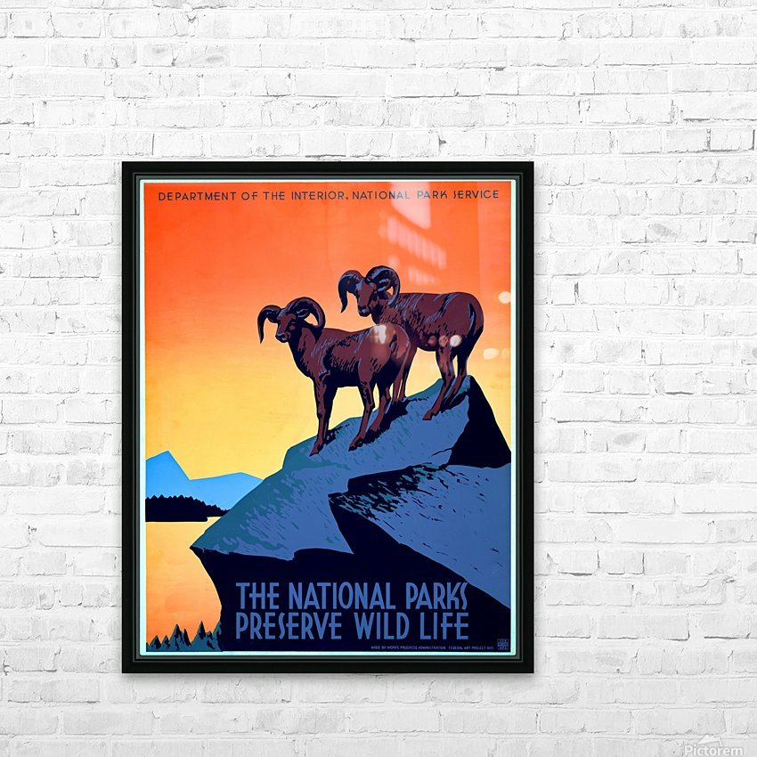 vintage poster retro advertisement HD Sublimation Metal print with Decorating Float Frame (BOX)