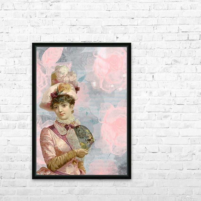 french vintage girl feathers HD Sublimation Metal print with Decorating Float Frame (BOX)