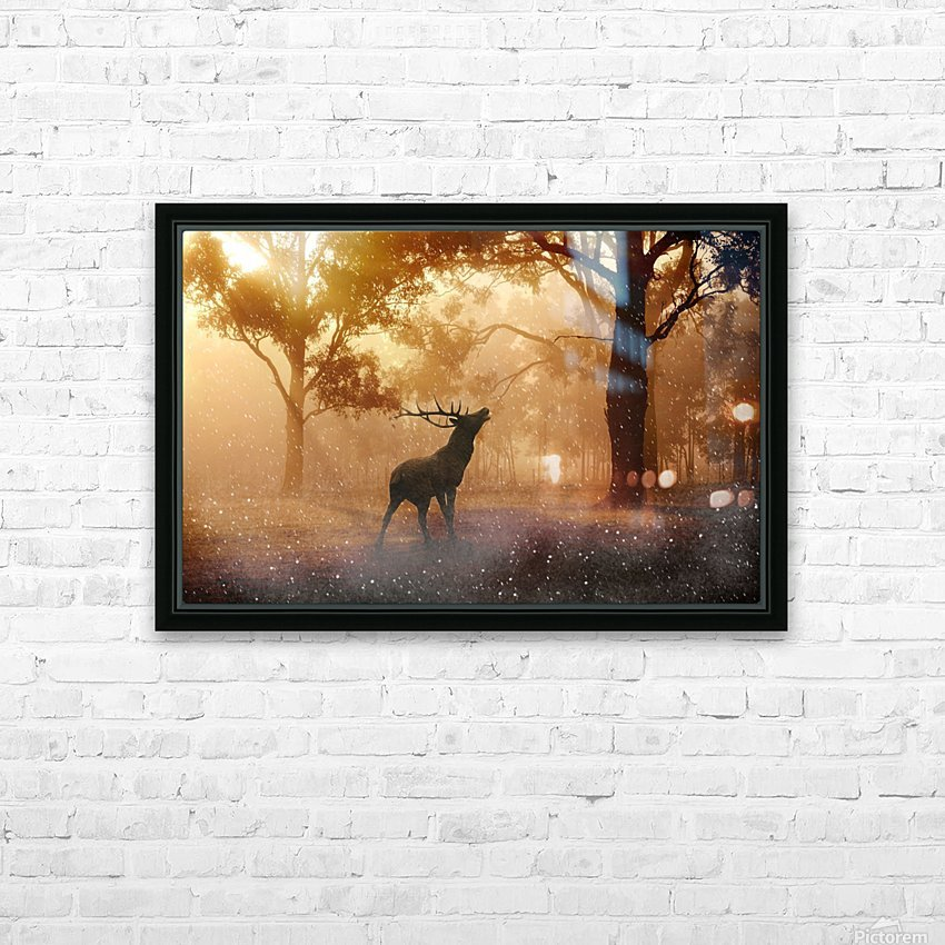 hirsch wild antler nature forest HD Sublimation Metal print with Decorating Float Frame (BOX)