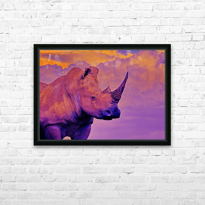 White Rhino orange purple HD Sublimation Metal print with Decorating Float Frame (BOX)