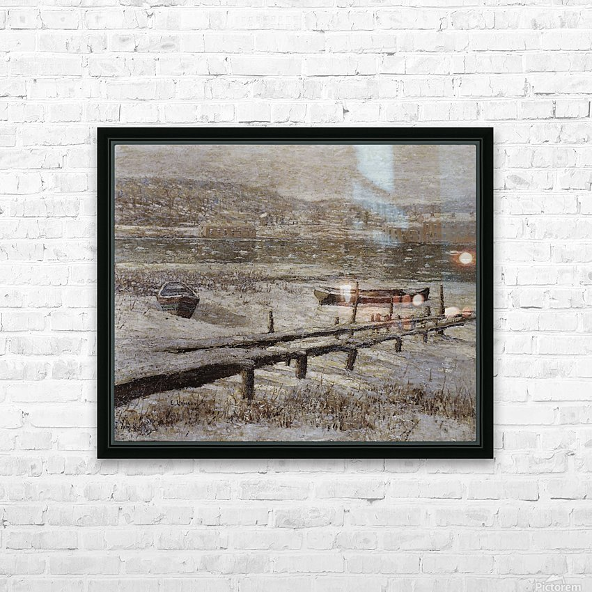 Winter on the river HD Sublimation Metal print with Decorating Float Frame (BOX)