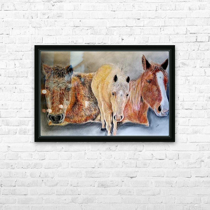 three horses HD Sublimation Metal print with Decorating Float Frame (BOX)