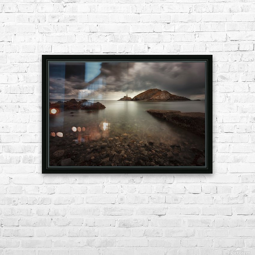 Rough weather over Mumbles lighthouse HD Sublimation Metal print with Decorating Float Frame (BOX)